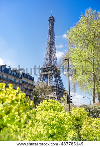 Paris, Eiffel tower on a bright spring day