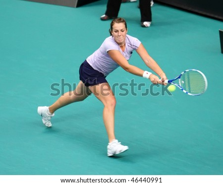 PARIS - FEBRUARY 10: Anastasia PAVLYUCHENKOVA of Russia in action at Open GDF Suez 2nd round match on February 10, 2010 in Paris, France