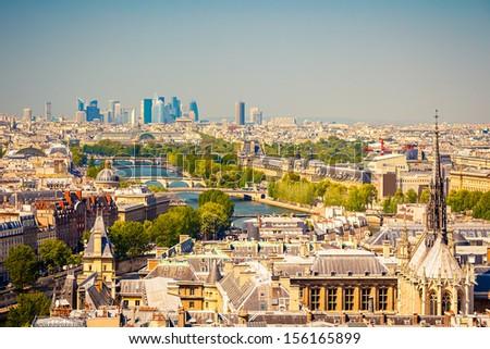 Paris form Notre Dame cathedral - stock photo