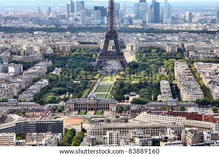 Paris, France - aerial city view Eiffel Tower and La Defense district. UNESCO World Heritage Site. - stock photo