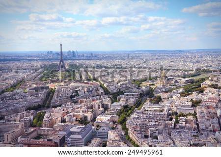 Paris, France - aerial city view Eiffel Tower. Filtered style colors. - stock photo