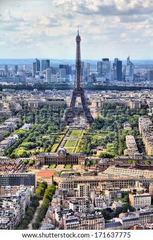 Paris, France - aerial city view Eiffel Tower. UNESCO World Heritage Site. - stock photo