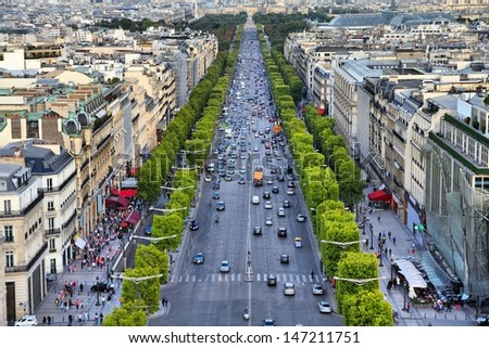 Paris, France - aerial city view with Champs Elysees street. - stock photo