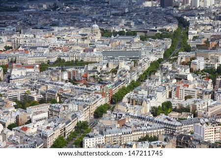 Paris, France - aerial city view with Church of Val-de-Grace and Boulevard de Montparnasse. UNESCO World Heritage Site. - stock photo