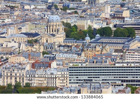 Paris, France - aerial city view with Church of Val-de-Grace. UNESCO World Heritage Site. - stock photo