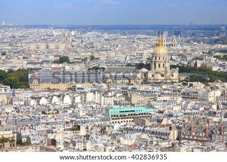 Paris, France - aerial city view with Invalides Palace. UNESCO World Heritage Site. - stock photo