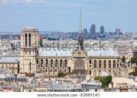 Paris, France - aerial city view with Notre Dame cathedral. UNESCO World Heritage Site. - stock photo