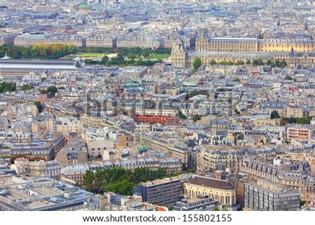 Paris, France - aerial city view with old architecture. UNESCO World Heritage Site. - stock photo