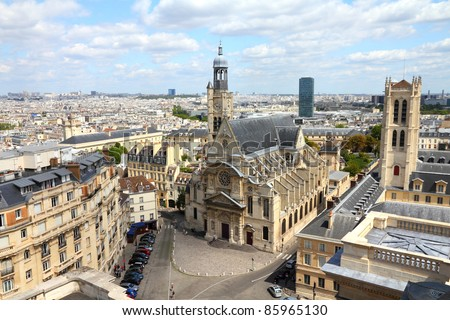 Paris, France - aerial city view with Saint Etienne du Mont church. UNESCO World Heritage Site.