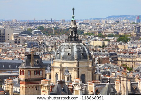 Paris, France - aerial city view with Sorbonne University chapel
