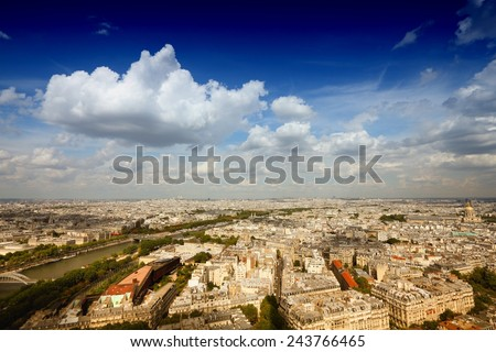 Paris, France - aerial view. UNESCO World Heritage Site. Filtered style colors. - stock photo