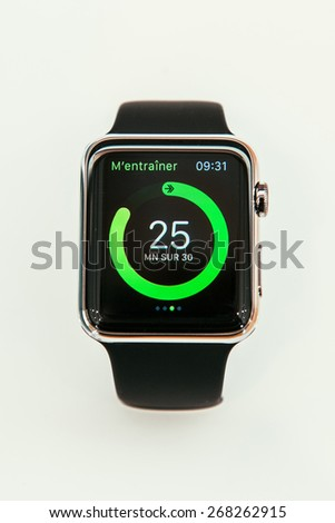 PARIS, FRANCE -  APR 10, 2015: New wearable computer Apple Watch smartwatch displaying the new Health App. Apple Watch has fitness tracking & health-oriented &  integration with iOS Apple products - stock photo