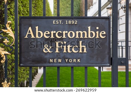 PARIS, FRANCE - APRIL 6, 2015: Abercrombie & Fitch clothing store plate on Champs Elysees. A&F is an American retailer with over 400 locations in the United States, and it's expanding internationally. - stock photo