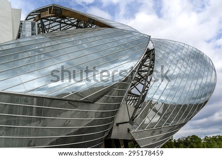 PARIS, FRANCE - APRIL 25, 2015: Building of Louis Vuitton Foundation (American architect Frank Gehry, 2014), is an art museum and cultural center. - stock photo