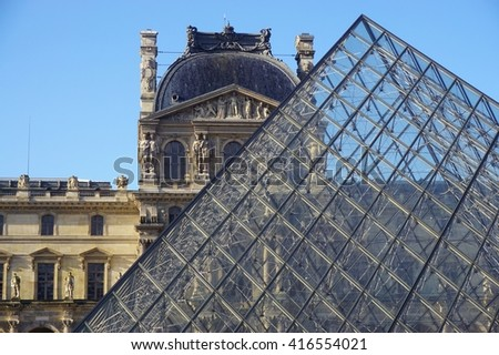 PARIS, FRANCE -11 APRIL 2016- Built in 1989, the Pyramide du Louvre is a glass pyramid designed by architect I. M. Pei in the Cour Napoleon main courtyard in the Louvre Museum in Paris.