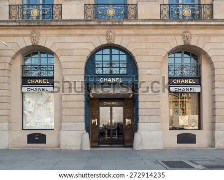 PARIS, FRANCE - APRIL 8, 2015: Chanel shop in place Vendome. Place Vendome is renowned for its fashionable and luxury shops and hotels such as the Ritz. - stock photo