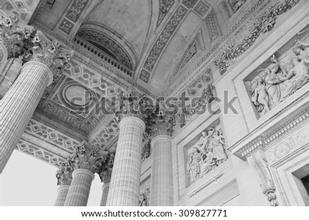 Paris, France - April 3, 2015: Close up exterior of the porch at Pantheon, Paris, France