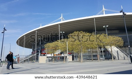 PARIS, FRANCE - APRIL 25: Football Stadium in Paris on April 25, 2016