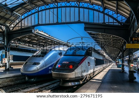 PARIS, FRANCE â?? APRIL 21, 2015: Interior of Gare de Paris-Est (Gare de l'Est, Eastern railway station) train station. It is one of largest and oldest railway stations in Paris, was opened in 1849. - stock photo