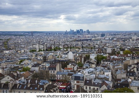 Paris, France, April 29, 2013 . Panorama of the city can be enjoyed from the observation platform of the Basilica of Sacre Coeur in Montmartre
