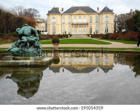 PARIS, FRANCE - APRIL 20, 2014: Rodin Museum is a 18th century mansion that displays sculptures from influential French sculptors.