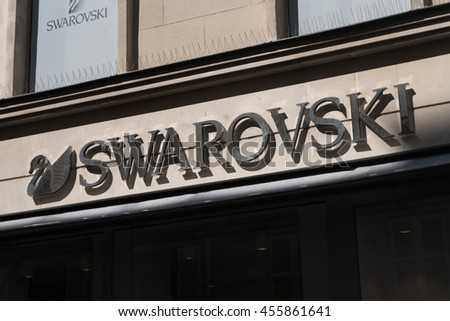 Paris, France - April 20, 2016: Swarovski sign outside a store. Swarovski is the brand name for a range of precisely-cut crystal and related luxury products