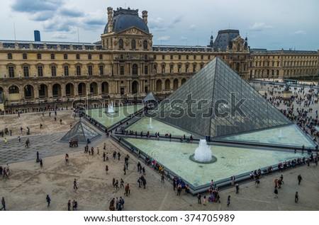 Paris France 2014 April 23,  The Louvre Museum is a central landmark of the city and one of the worlds largest museums.