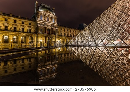 PARIS, FRANCE - APRIL 25, 2015: The Louvre Pyramid at night reflecting in its surrounding pond