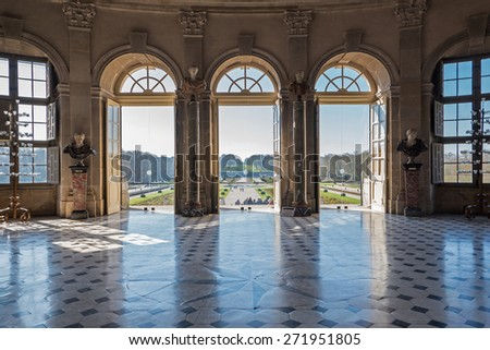 PARIS, FRANCE - APRIL 6, 2015: Vaux le Vicomte Castle interior view, baroque French Palace located in Maincy, near Paris. Constructed from 1658 to 1661 for Nicolas Fouquet. - stock photo