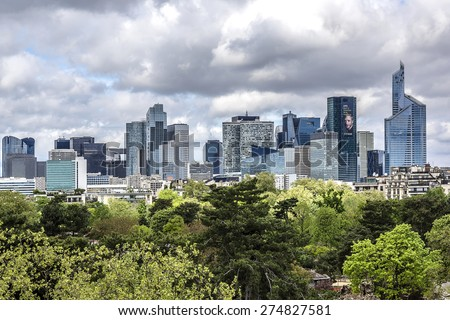 PARIS, FRANCE - APRIL 25, 2015: View of Defense business district from Building of Louis Vuitton Foundation. Defense is biggest business district in France; most of large companies have offices here. - stock photo