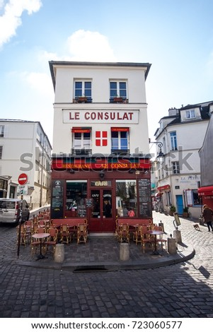 Paris, France - April 27, 2016 - View of Le Consulat Restaurant in Montmartre, Paris