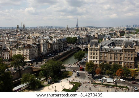 PARIS, FRANCE - AUGUST 8, 2010: A photograph of Paris, France, taken on Aug.8, 2010.