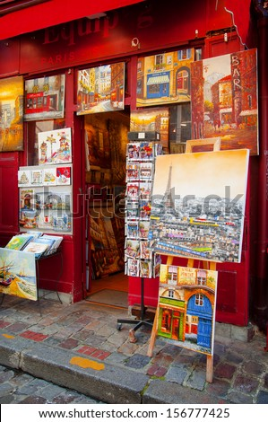 PARIS, FRANCE - August 15, 2013: a store of paintings in Paris city.