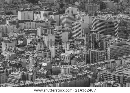 Paris, France - August 18: Aerial view over Paris, France from the Montparnasse Tower, on August 18, 2014.