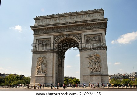 PARIS, FRANCE - August 1, 2011: Arc De Triump, located in the middle of the Place Charles de Gaulle, a large circular area from which 12 streets emanate.