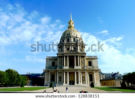 PARIS, FRANCE -AUGUST 21:Chapel of Saint Louis des Invalides on August 21, 2011 in Paris. Chapel  built in  1679 is  the burial site for some of France's war heroes, notably Napoleon Bonaparte. - stock photo
