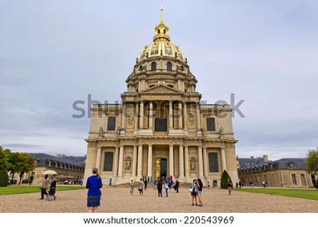 PARIS, FRANCE -AUGUST 8: Chapel of Saint Louis des Invalides on August 8, 2014 in Paris. Chapel built in 1679 is the burial site for some of France's war heroes, notably Napoleon Bonapart - stock photo