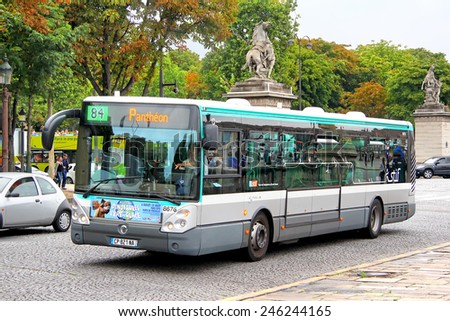 PARIS, FRANCE - AUGUST 8, 2014: City bus Irisbus Citelis 12M at the city street. - stock photo