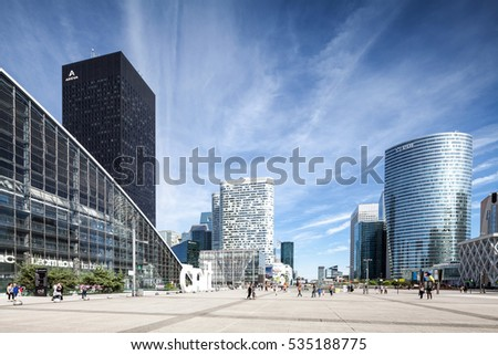 PARIS, FRANCE - AUGUST 16, 2016: La Defense modern business and financial district in Paris with highrise buildings and convention center