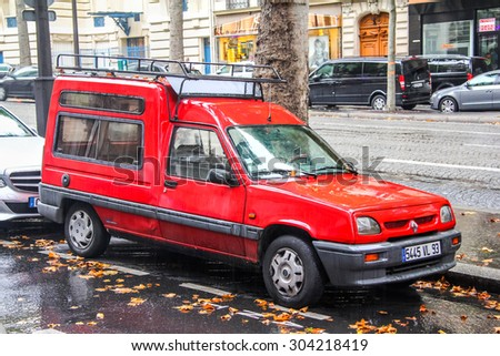 PARIS, FRANCE - AUGUST 8, 2014: Motor car Renault Express at the city street. - stock photo