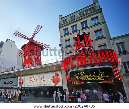 PARIS, FRANCE - AUGUST 02: Moulin Rouge in Paris, Montmartre on August 02, 2008 in Paris, France. - stock photo