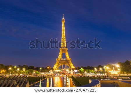 Paris, France - August 2, 2013 - Night view of Eiffel tower in Paris, France