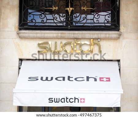 PARIS, FRANCE - August 6, 2016: Swatch shop in place Vendome. Place Vendome is renowned for its fashionable and luxury shops and hotels