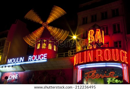 PARIS, FRANCE - AUGUST 4TH 2014: The famous Moulin Rouge in Paris on the 4th August 2014.