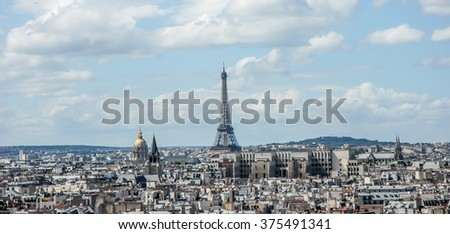 PARIS, FRANCE- AUGUST  18, 2014; The Eiffel Tower  is a wrought iron lattice tower on the Champ de Mars in Paris, France.