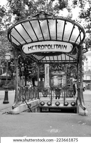 PARIS, FRANCE - 20 August 2014: The entrance to the Abbesses station for the Paris Metro. Famous art nouveau built in 1912. Take on 20 August 2014, Paris - France - stock photo