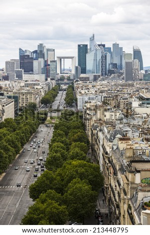 Paris, France - August 17: View of La Defense business district from the Arc de Triomphe in Paris, France on August 17, 2014.