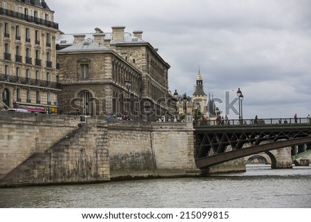 Paris, France - August 19: View of Seine river and bridges from o river cruise in Paris, France on August 19, 2014.