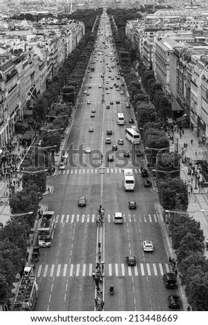 Paris, France - August 17: View of the Chaps-Elysees Avenue from the Arc de Triomphe in Paris, France on August 17, 2014. - stock photo