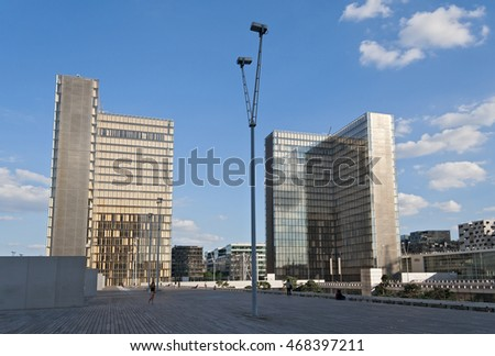PARIS, FRANCE - AUGUST 8, 2016: view of the National Library of France in Paris